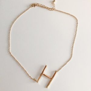Gold 'H' Initial Necklace
